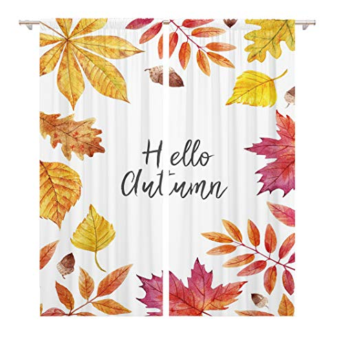 Tinmun 104 x 84 Inch Decorative Drapes Colorful Watercolor Autumn Leaves Hello Maple Mountain Ash Oak 2 Panels Window Curtains for Living Room Bedroom Printed