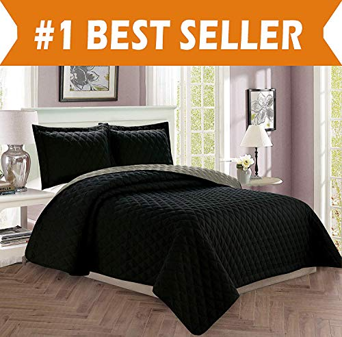 Quilted Sham Diamond - Celine Linen  Luxury 3-Piece Bedspread Coverlet Diamond Design Quilted Set with Shams - All Season Heavy Weight- Hypoallergenic- Wrinkle & Fade Resistant- King/California King, Black/Gray