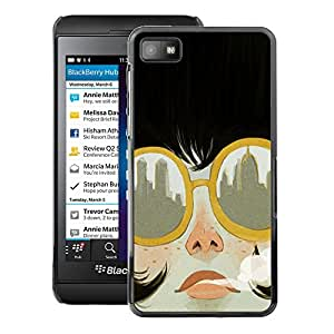 A-type Arte & diseño plástico duro Fundas Cover Cubre Hard Case Cover para Blackberry Z10 (Smoking City Sunglasses Fashion)