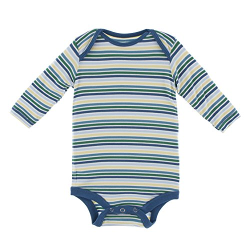 KicKee Pants Little Boys Print Long Sleeve One Piece, Boy Perth Stripe, 0-3 - Stores Perth