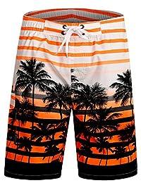 APTRO Men's Swim Shorts Quick Dry Palm Tree Trunks Bathing Suit
