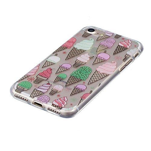 Coque iPhone 8 Glace délicieuse Premium Gel TPU Souple Silicone Transparent Clair Bumper Protection Housse Arrière Étui Pour Apple iPhone 8 + Deux cadeau
