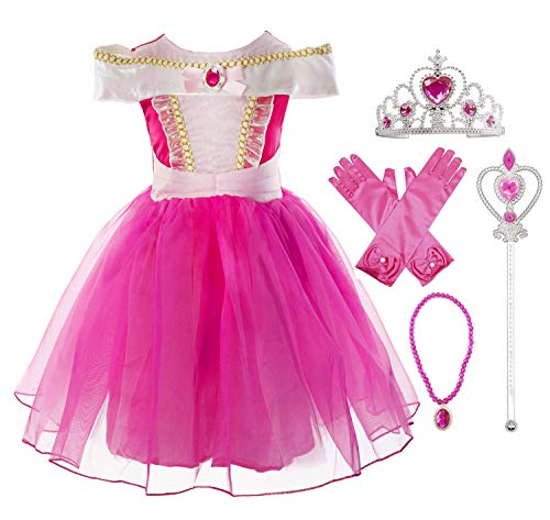 Okidokiyo Little Girls Princess Aurora Costume Halloween Party Dress Up (Knee Length with Accessories, 2-3 Years) -
