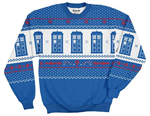(Ripple Junction Doctor Who Adult Multicolored Tardis Fleece Crewneck Sweatshirt 3XL)