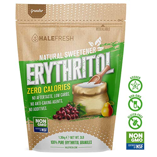 Erythritol Sweetener Natural Sugar Substitute 3lb - Granulated Low Calorie Sweetener High Digestive Tolerance Suitable for Diabetes Keto and Paleo - Baking Substitute Non GMO (Best Artificial Sweetener For Baking)