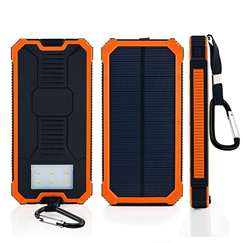 Dual Usb Port 20000Mah Solar Charger High Capacity Solar Power Bank Compass Camping Mobile Waterproof Battery Backup With Led Lighting And Sos Function For Smart Phones And Other Usb Devices Orange