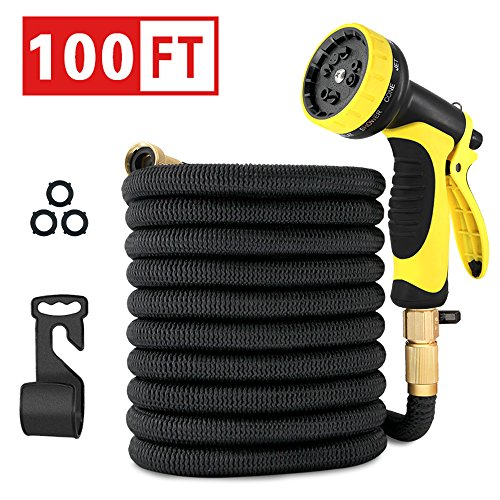 Healon 100FT Expandable Garden Water Hose with 10 Pattern Spray Nozzle, Solid Brass Connector, Double Latex Core Expanding Water Hose with Storage Bag and Hanger Black