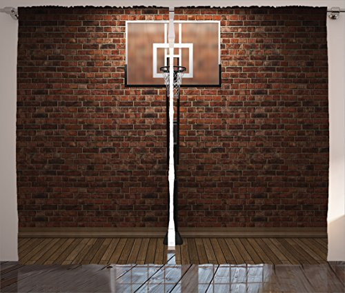 Sports Decor Curtains by Ambesonne, Old Brick Wall and Basketball Hoop Rim (Hoop Decoration)