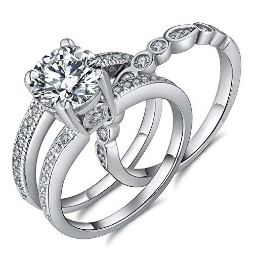 MABELLA 2.7 Carats Round Cut White Cubic Zirconia Alternative Engagement Wedding Ring Set Women Size 5-10