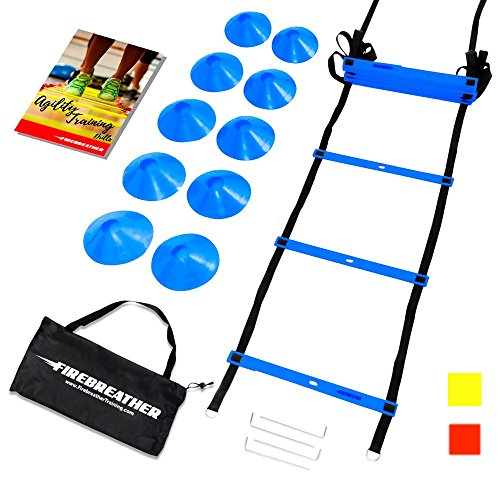 AGILITY LADDER & CONES by FireBreather. Powerful Training Equipment to Boost Performance and Cardio in Soccer, Football & Sports. Set of 15ft Speed Ladder, 10 Cones, Bag & E Book