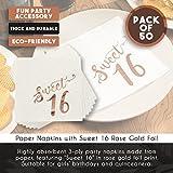 Sweet 16 Napkins with Rose Gold Foil Details