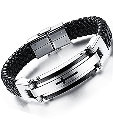 Ostan Mens Bracelet Men's Stainless Steel Bracelet Braided Religious Cross Cuff Bangle Rope Black