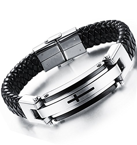 Ostan Men's Jewelry Leather Stainless Steel Bracelet Braided Religious Cross Cuff Bangle Rope Black - Protection Cross