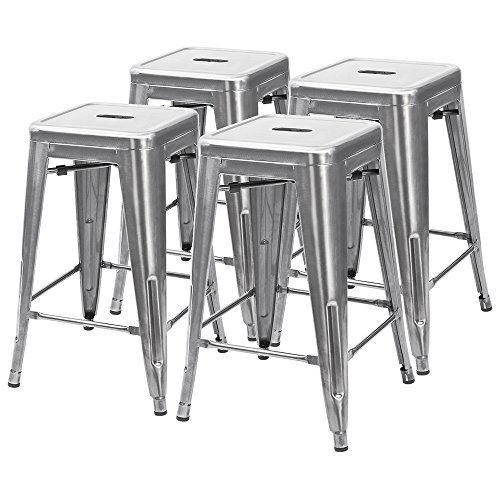 Furmax 24'' metal stools High Backless Silver Metal Indoor-Outdoor Counter Height stackable bar Stools (4 pack silver)