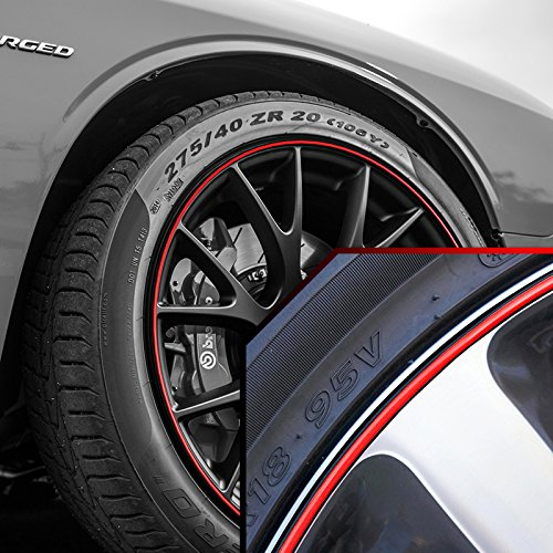 - Upgrade Your Auto Wheel Bands Red in Black Pinstripe Rim Edge Trim for Dodge Challenger
