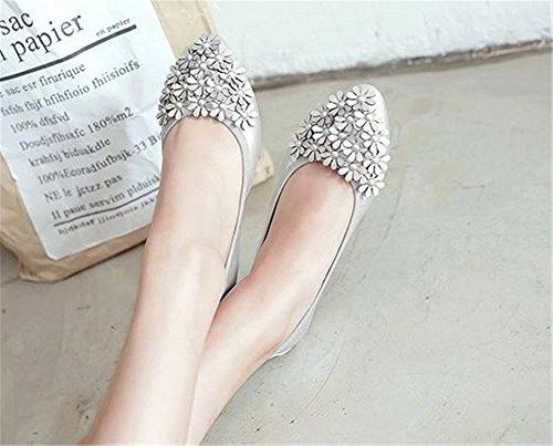 Women Comfort Toe Silver Foldable Pointed Shoe Flower Flats 6qw6Z