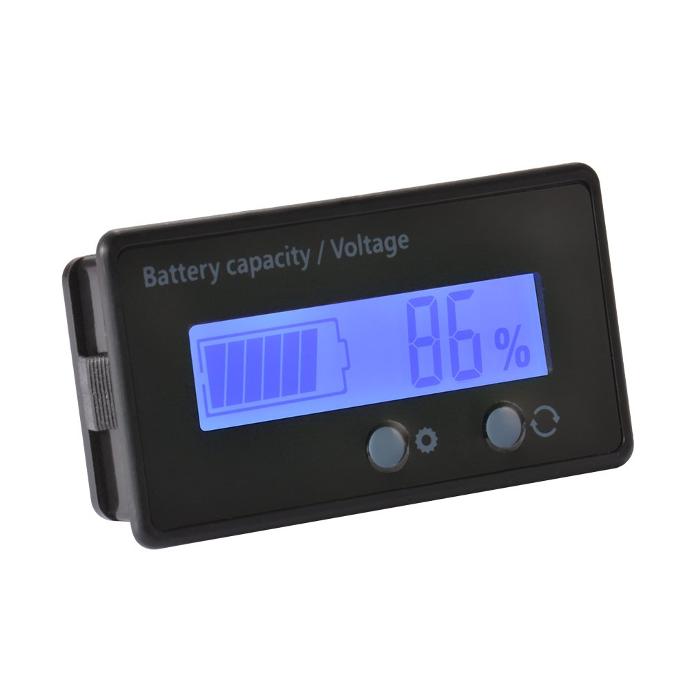 XCSOURCE Waterproof 12//24//36//48V LCD Lead-acid Battery and Lithium Battery Capacity Tester Voltage Meter Monitor Green Backlight for Vehicle Battery BI727