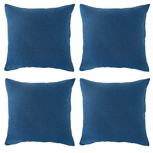 deconovo textural faux linen home decorative hand made pillow case cushion cover for bed 18 x 18 inch federal blue set of 4 no pillow insert