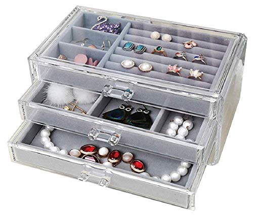 (Acrylic 3 Drawer Jewelry Organizer Holder Storage Ring Earring Bangle Necklace Bracelet Watch Case for Girl(Grey) )