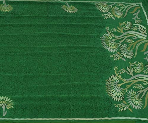 Vintage Indian Saree 100% Pure Crepe Silk Printed Embroidered Sari Fabric Green (Crepe Pure Saree)