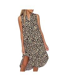 Womens Leopard Print Deep V-Neck Mini Dress Ladies Casual Sexy Pocket Dress Short Sleeve Clubwear Party Dress