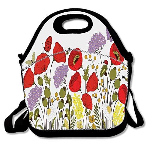 Wild Flowers Field Medley Poppy Chamomile Hydrangea Gypsophila Butterfly Lady Bugs Reusable Neoprene Lunch Bag Insulated Lunch Box Tote for Women Men Adult Kids Teens Boys Teenage ()