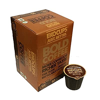 EKOCUPS Artisan Organic Bold Coffee, Dark roast, in Recyclable Single Serve Cups for Keurig K-cup Brewers, 80 count
