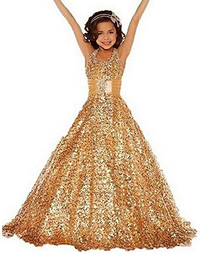 BFB Flower Girls' Prom Ball Gown Floor Length Wedding Pageant Dresses (6, Gold) Floor Length Taffeta Satin