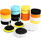 Electop Car Polishing Pad Kit 22 Pcs, 3 Inch Foam Drill Buffing Sponge Woolen Pads for Car Sanding, Buffing, Polishing, Waxing, Sealing Glaze(18 Pads+2 Drill Adapters+2 Suction Cups)