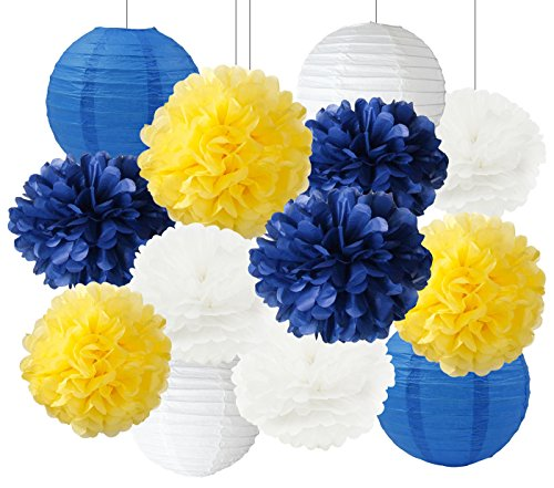Furuix White Navy Yellow 10inch Tissue Paper Pom Pom 8inch Paper Lanterns Mixed Package for Navy Blue Party Wedding Paper Garland, Bridal Shower, Baby Shower Decoration (Navy White -