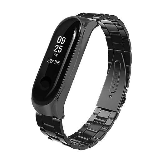 Correa para Xiaomi Mi Band 3,MADROD Moda Correa de Reloj de Lujo de Acero Inoxidable Pulsera de Metal para Xiaomi Mi Band 3 (Negro): Amazon.es: Relojes