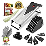 : Mandoline Vegetable Slicer w/ 6 Blades - Cutter and Julienne, Food Hand Chopper, Cheese Grater Stainless Steel. Cut Resistant Gloves, 12 Piece Set.