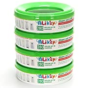 Refill for Diaper Genie and Munchkin Diaper Pails,4-6 Months Supply ,280 Count, 4 Pack -Green