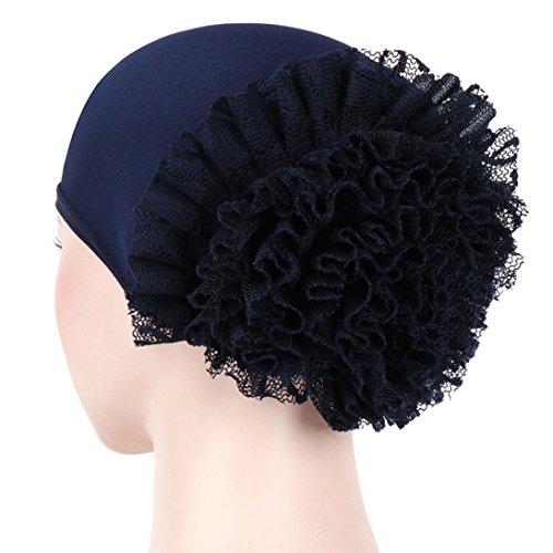 (Hongxin Hot Sale Women Flower Muslim Ruffle Cancer Chemo Hat Beanie Scarf Turban Head Wrap Cap Beret Women Boina Creative Gift (Navy))