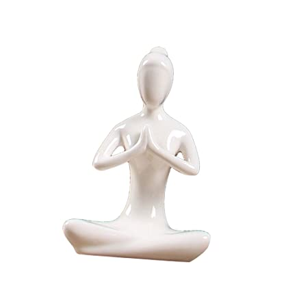 IPOTCH Escultura de Figura de Yoga de Zen de Cerámica Ornamento Decorativo Obra de Arte - 02