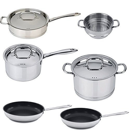 Berghoff Collectncook 18/10 Stainless Steel 10pc Set with Cover Lids - Perfect Kitchen Cookware - Dishwasher Safe