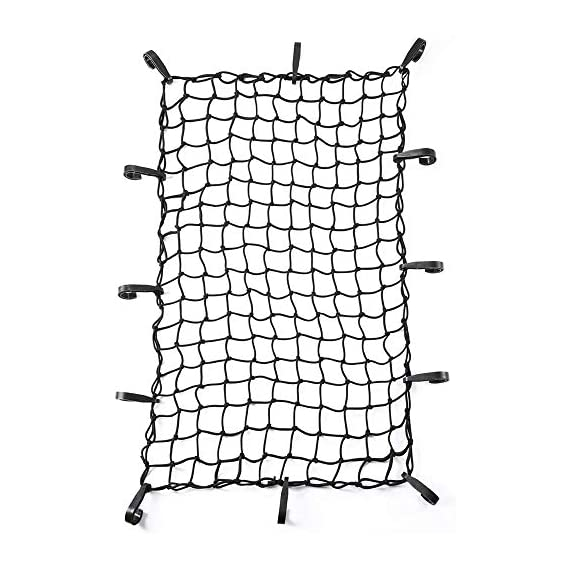 Addmax Universal Car Roof Net Flexibile & Elastic Luggage Carrier Cargo Rope with Adjustable Hooks - 60x28Inch