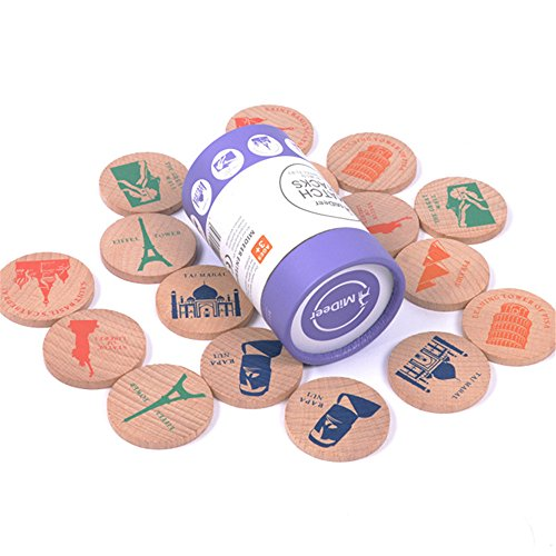 MiDeer Wooden Match Stacks Educational Memory Building Match Stacks (The world famous building) Famous Buildings