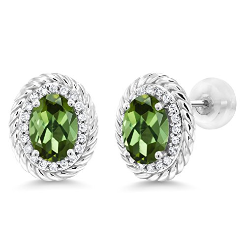 Gem Stone King 1.68 Ct Oval Green Tourmaline White Diamond 10K White Gold Earrings (Green Diamond Stud Earrings)