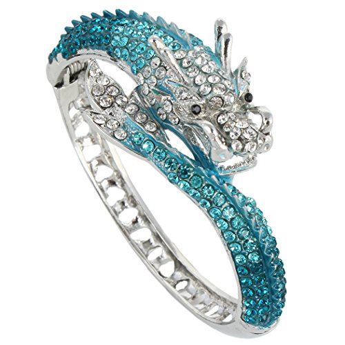 EVER FAITH Women's Austrian Crystal Cool Animal Fly Dragon Bangle Bracelet Blue Silver-Tone