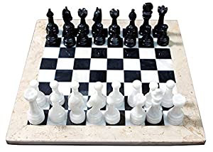 RADICAL 16 Inches Handmade White and Green Onyx Marble Full Chess Game Original Marble Chess Set