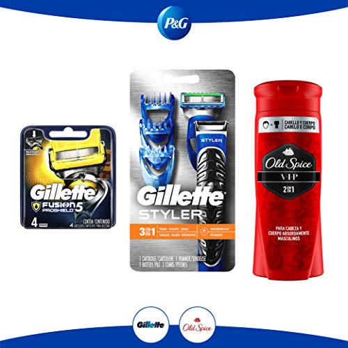 Pack Gillette Styler + 4 Cartuchos para Afeitar fusion Proshield+Old Spice Body Wash VIP