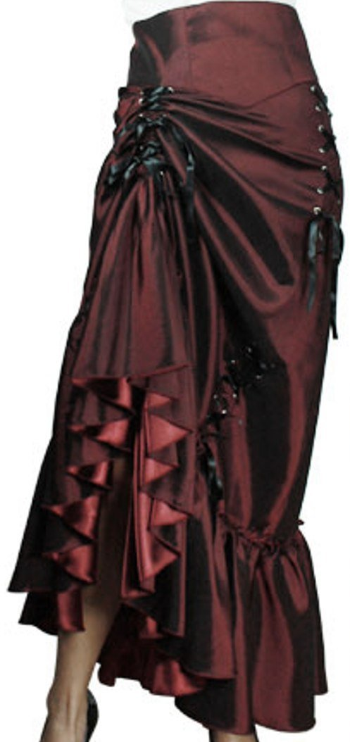 (XS-P28) Steampunk Ball - Burgundy Red Victorian Sateen Corset Vintage Style Skirt (Large)
