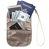 Inspiring Adventures Neck Wallet | Premium RFID Passport Holder with Water Resistant Zippers | Slim and Lightweight | Adjustable Strap | Suitable for Smart Phone and Credit Card | for Men and Women