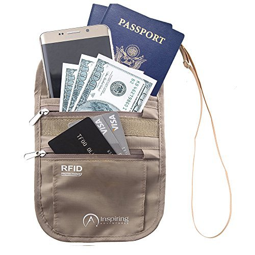 Inspiring Adventures Neck Wallet | Premium RFID Passport Holder with Water Resistant Zippers | Slim and Lightweight | Adjustable Strap | Suitable for Smart Phone and Credit Card | for Men and Women by Inspiring Adventures