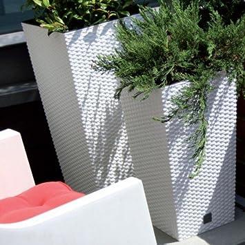 maceta jardinera florero interior o exterior para hogar y jardin plastico imitacion mimbre blanco