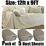5 x PROFESSIONAL QUALITY 100% COTTON TWILL HEAVY DUTY DUST SHEETS FOR DECORATING. Each Sheet of Size : 12ft x 9ft. ***Bale of 5 Sheets***