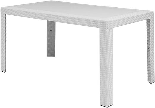 Table de Jardin Rectangulaire Urano 140 x 80 x 72 cm Blanc ...
