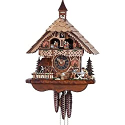 Hönes Cuckoo Clock Black Forest house with moving wood sawers and mill wheel