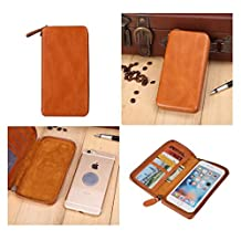 DFV mobile - Executive Wallet Case with Magnetic Fixation and Zipper Closure for => ACER LIQUID JADE Z, S57 > Brown